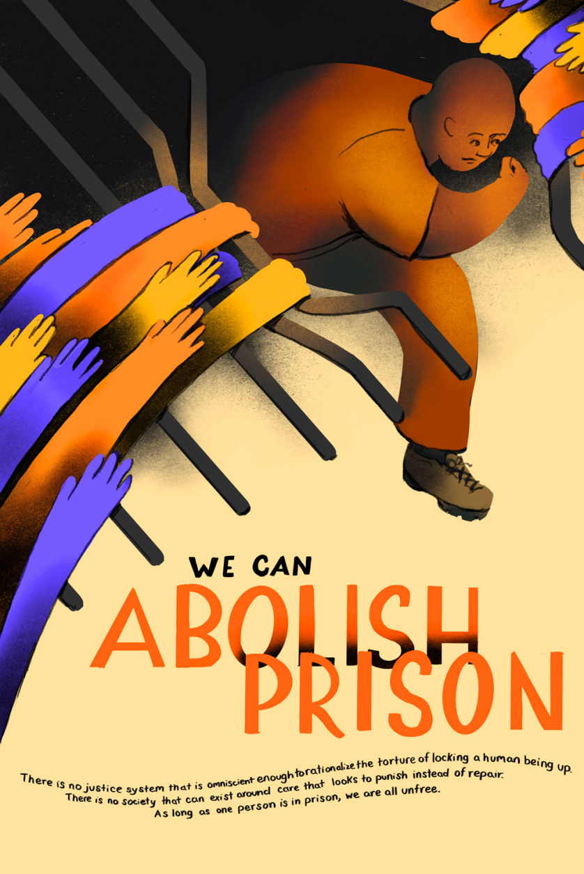"Stylized as if it was a 1930s labor poster, the image reads ""We can abolish prisons."""
