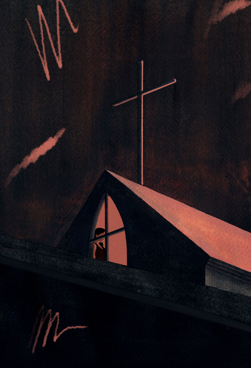 A woman is seen in the attic window of a Christian church, the cross standing menacingly above her.