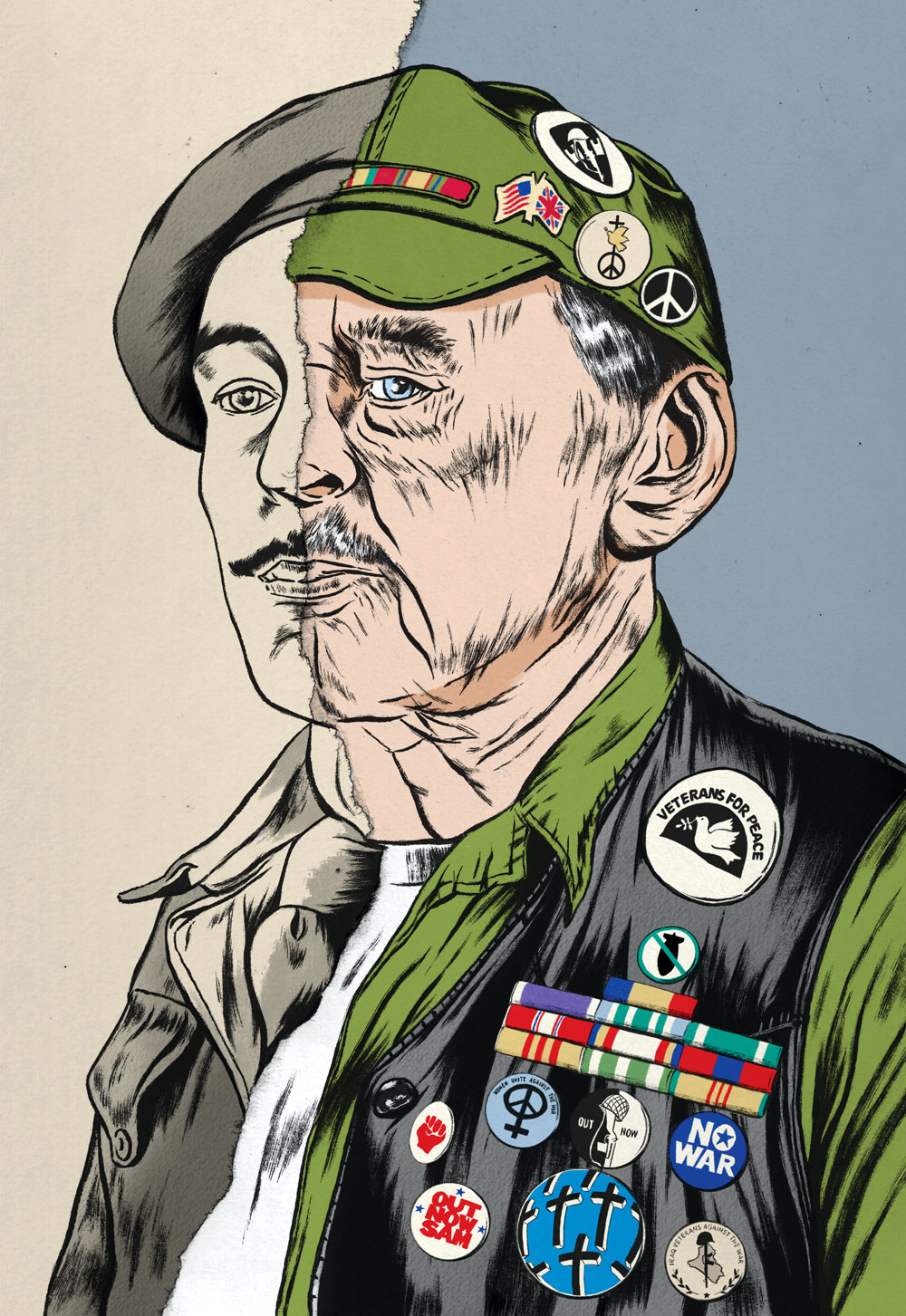 A portrait of a veteran is split in half: On the left, his younger self in a military uniform. On the right, he has transformed into an older man in anti-war regalia.