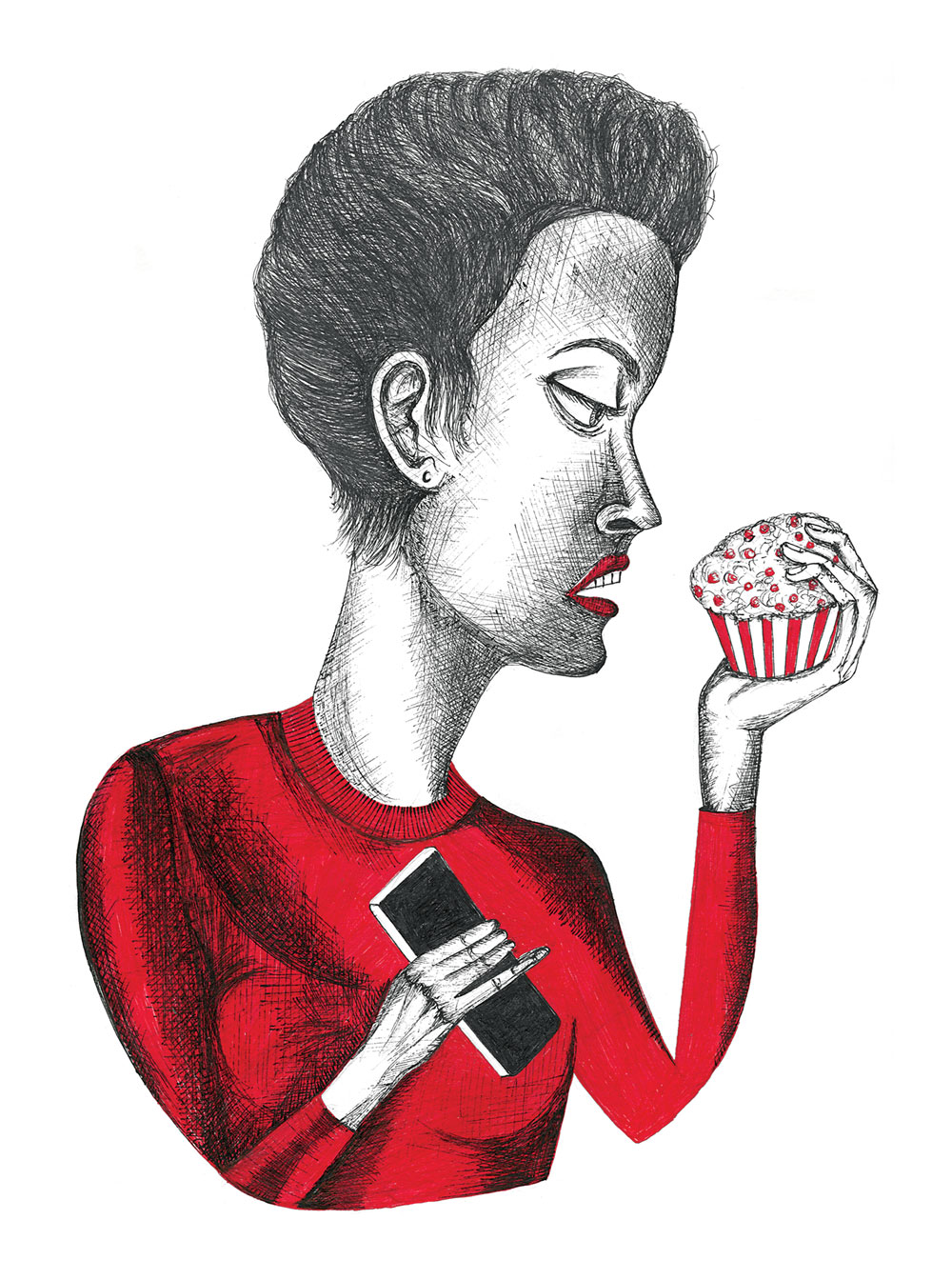 A woman holding a cupcake stares into its sprinkled frosting, ignoring the phone she holds in her other hand.