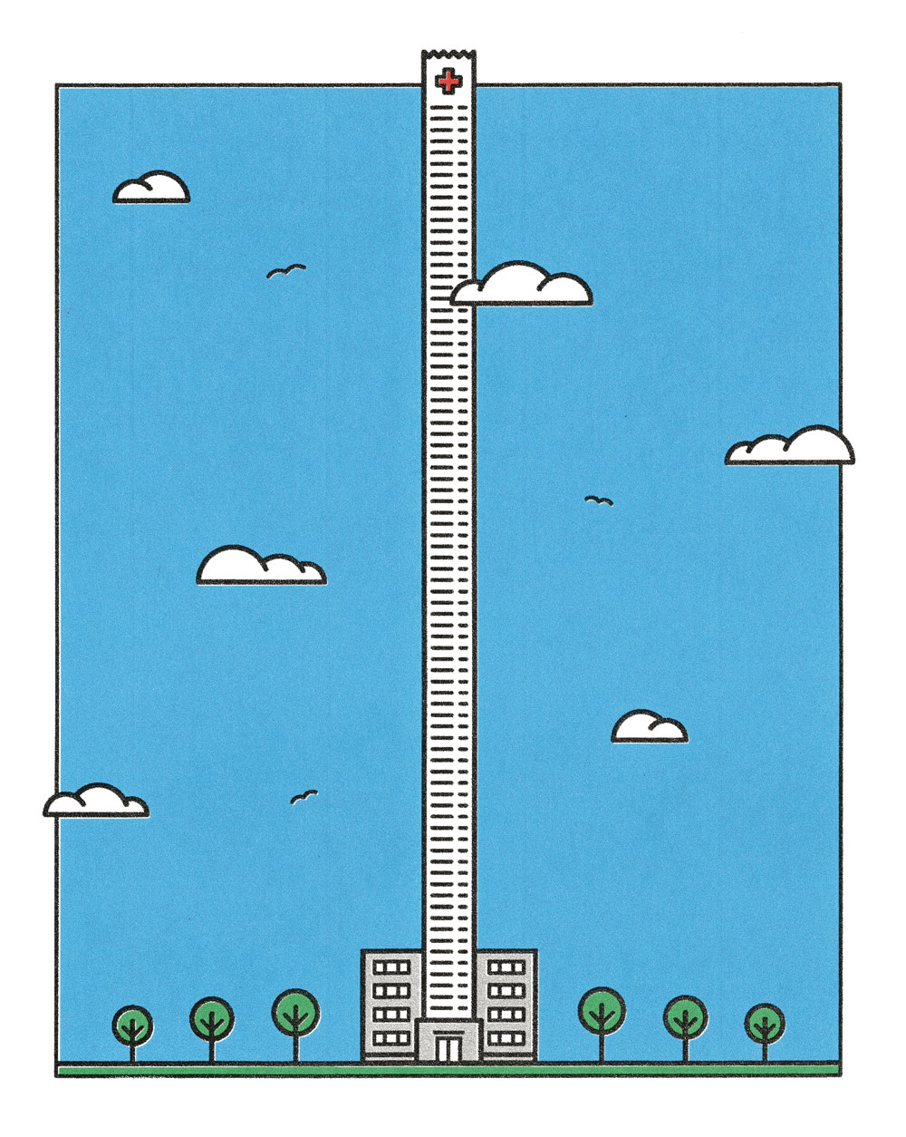 A hospital tower stretches into the sky, its design reminiscent of a very long receipt.