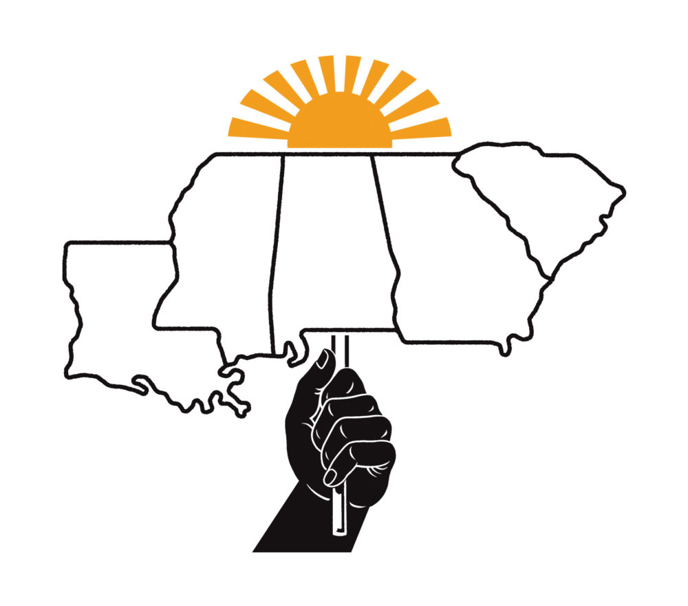 A black hand holds up the southern states (Louisiana, Mississippi, Alabama, Georgia and South Carolina) like a sign. A rising sun sits on top of them.