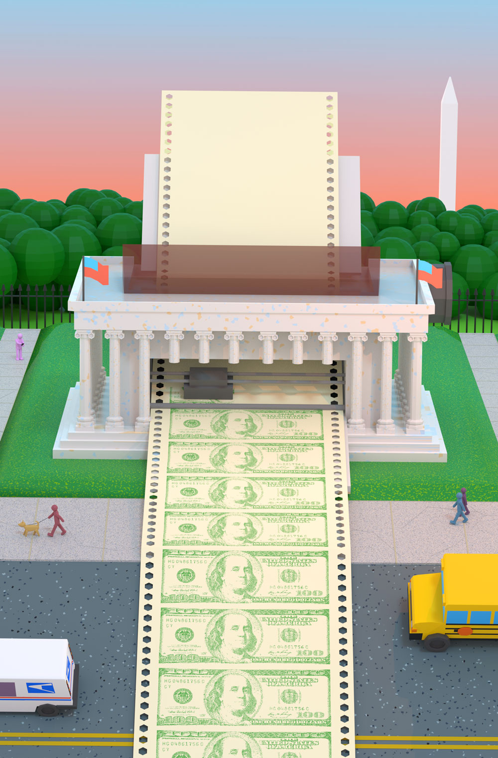 The U.S. treasury rendered as a giant printer printing off an endless strip of hundred dollar bills.