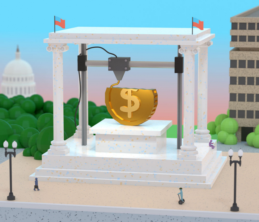 Another Washington, D.C., monument rendered as a 3D printer assembling a giant gold coin line by line.