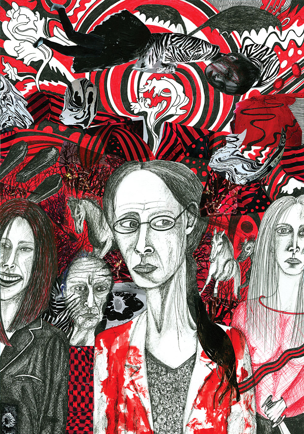 A red, white and black illustration of different characters from the films being reviewed in this piece set against a psychedelic background.