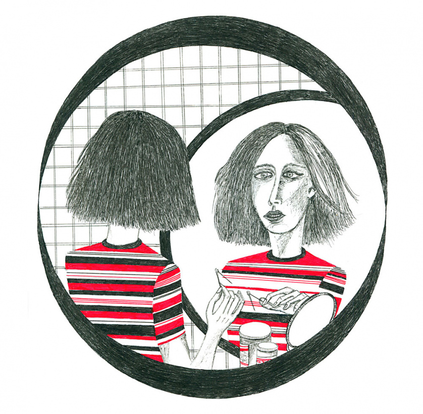 Maintaining the same color scheme as the previous image, this illustration depicts Autumn from the film <em>Never Rarely Sometimes Always</em> piercing her nose in a bathroom mirror.