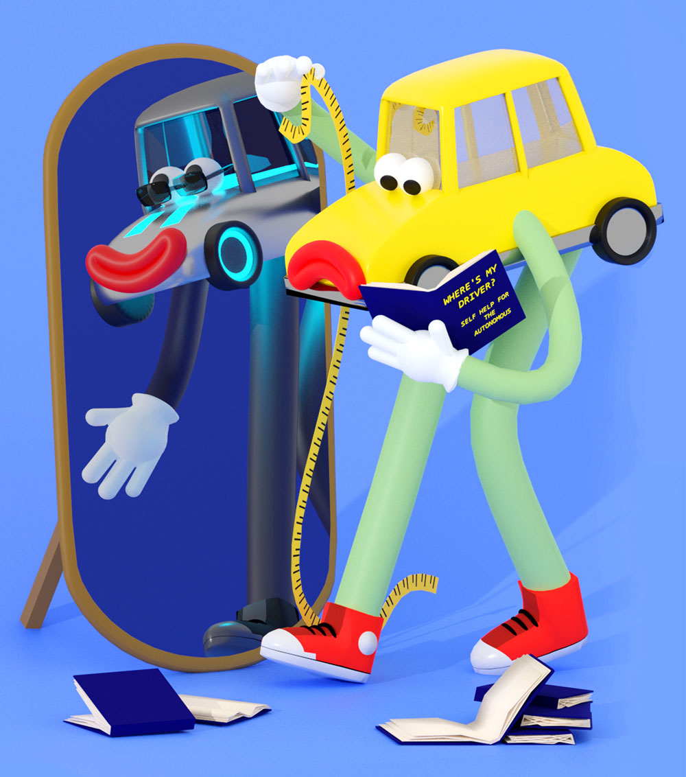 "A nervous, anthropomorphic car measures how tall it is in front of a mirror. It holds a book titled, ""Where's My Driver? Self Help For The Autonomous."""