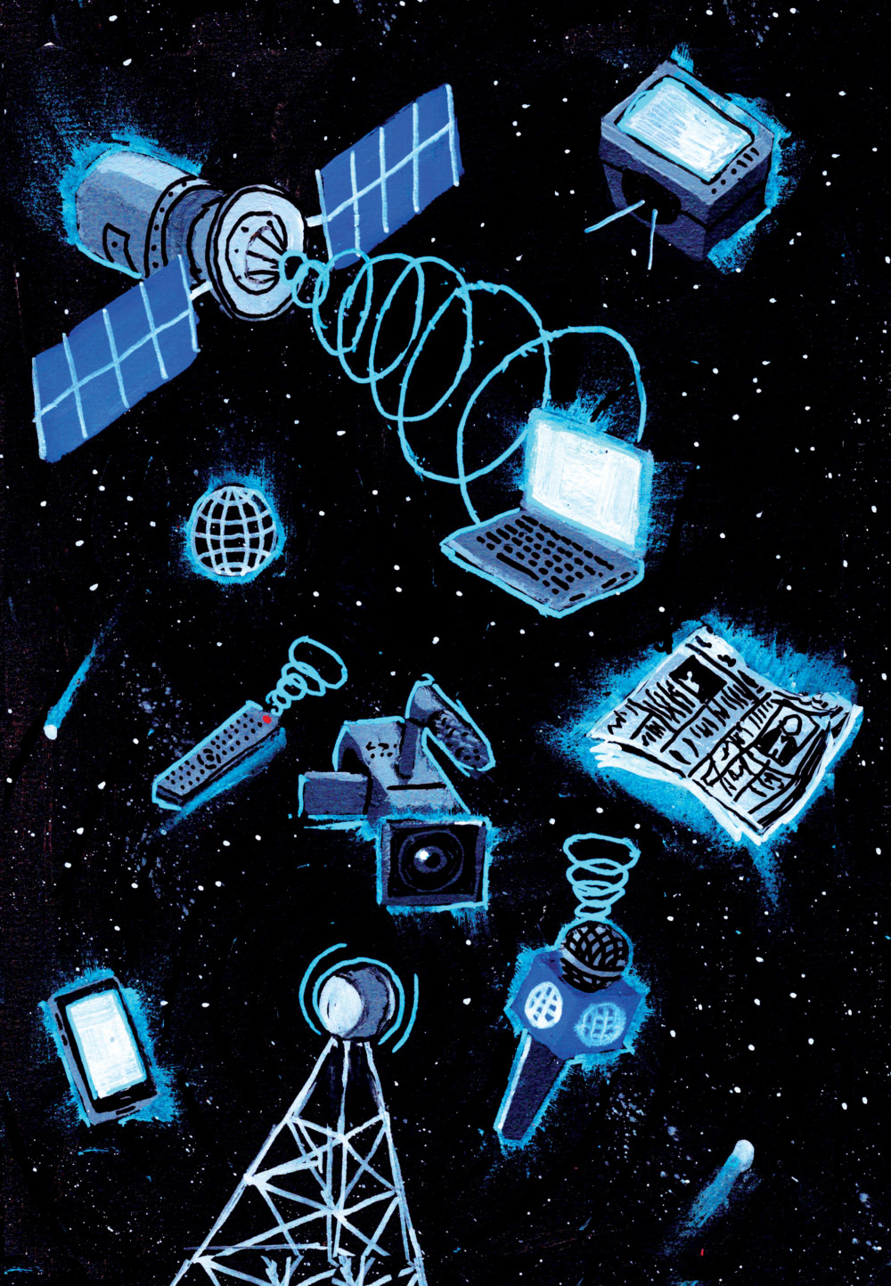 Various laptops, TV sets, camcorders, microphones, smartphones, and newspapers float in space, a satellite beaming content onto all of them.