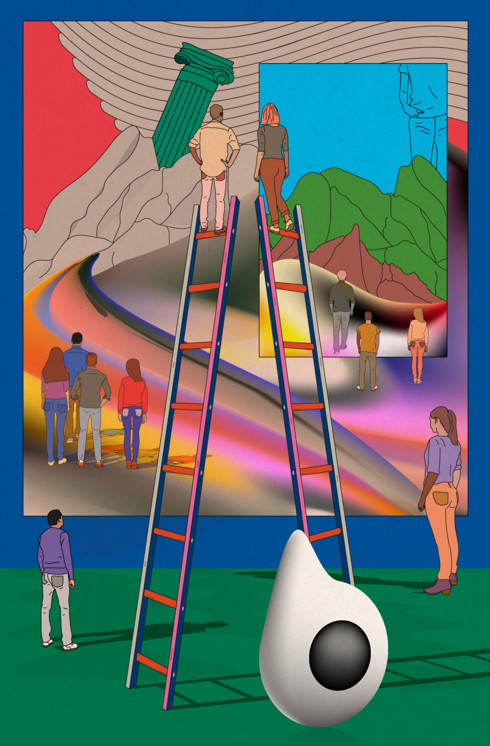 Eleven people stare off into the distance, away from the viewer. They are standing in a museum, two of them at the top of ladders. They seem to be staring at an abstract image of a mountain range.