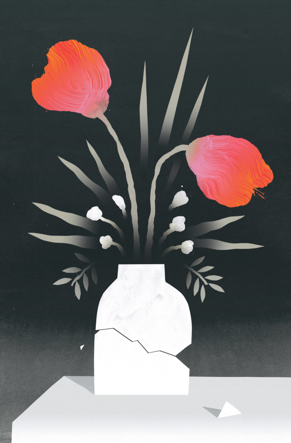 A broken vase holds two red flowers and six white flowers.