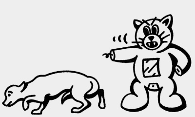 An angry-looking Felix yells at a sheepish dog while pointing it away.