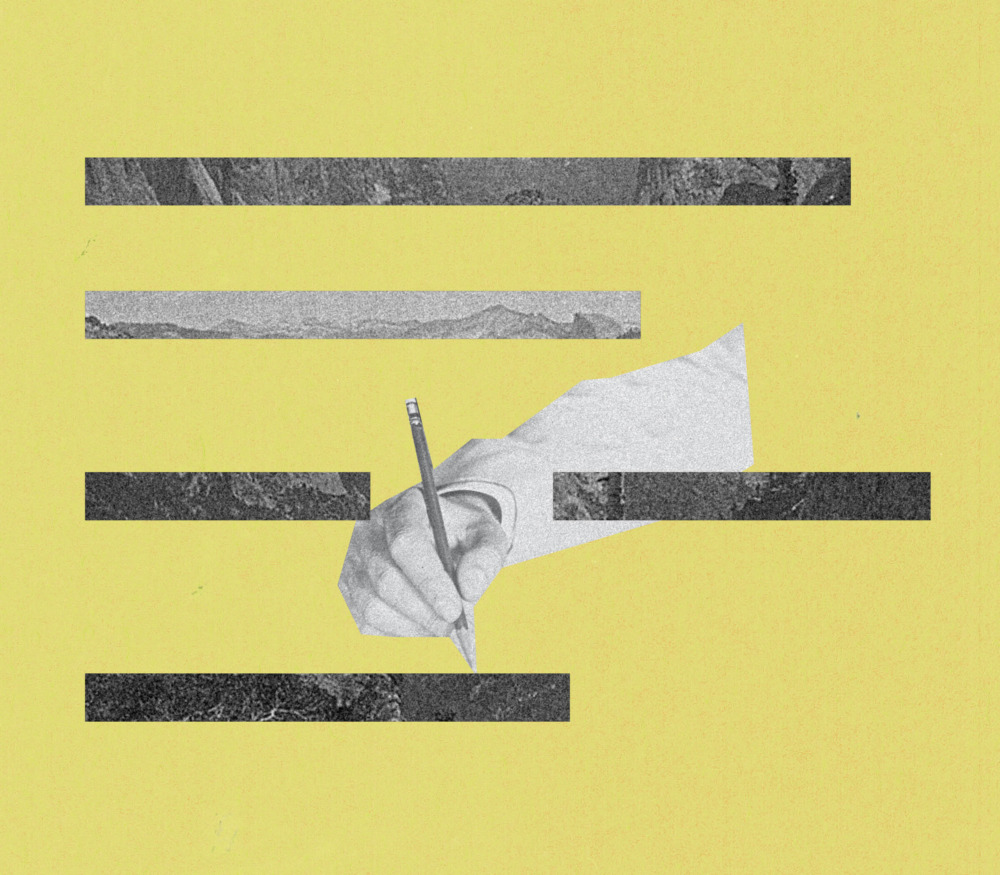 A collage of a floating arm holding a pencil beside strips of landscape photography, all set against a yellow background.