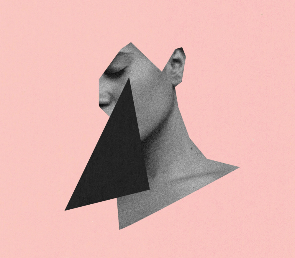 A cutout of a woman's neck and face is spliced onto a salmon pink background. A black isosceles triangle obscures part of her face.