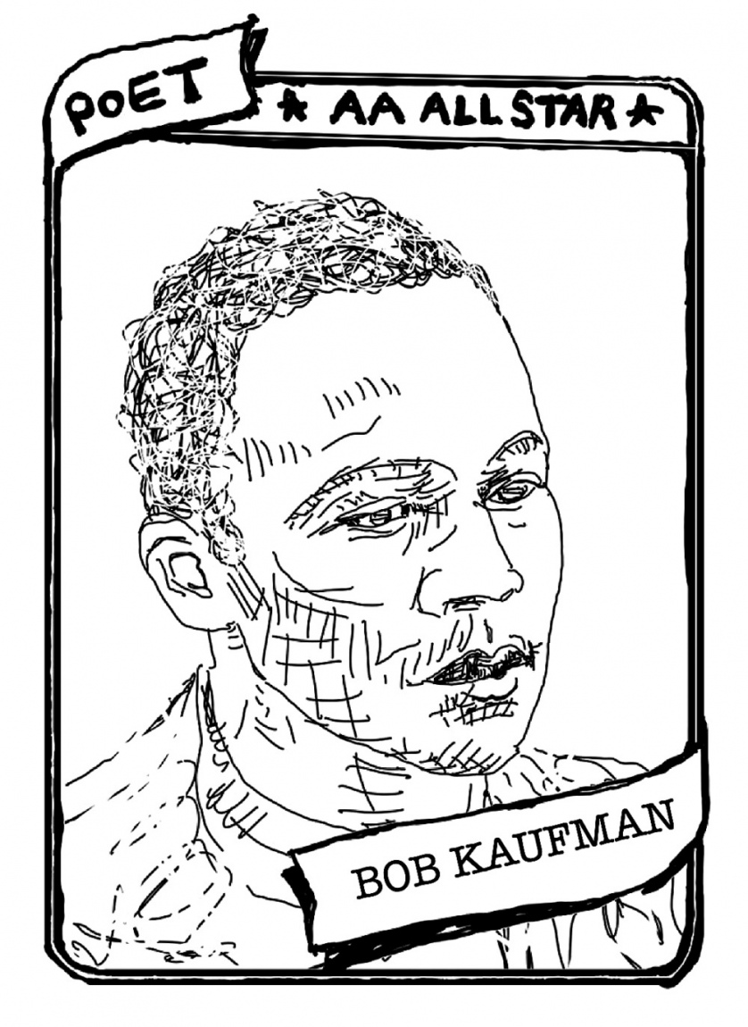 "A baseball card with a portrait of Bob Kaufman. The text reads, ""Poet, AA All Star, Bob Kaufman."""