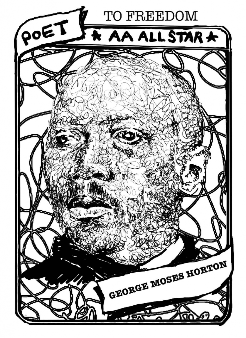 "A baseball card with a portrait of George Moses Horton. The text reads, ""To Freedom, Poet, AA All Star, George Moses Horton."""