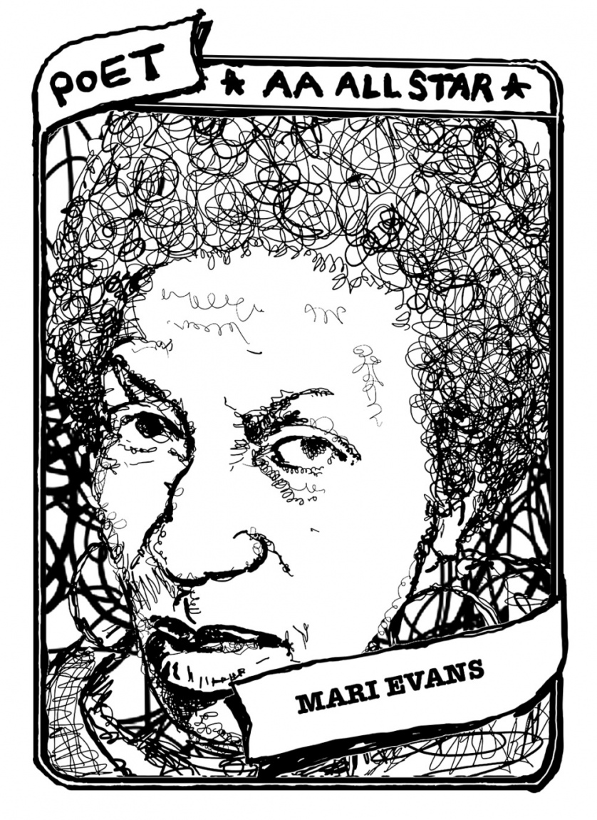 "A baseball card with a portrait of Mari Evans. The text reads, ""Poet, AA All Star, Mari Evans."""
