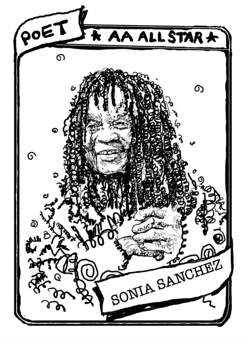 "A baseball card with a portrait of Sonia Sanchez. The text reads, ""Poet, AA All Star, Sonia Sanchez."""