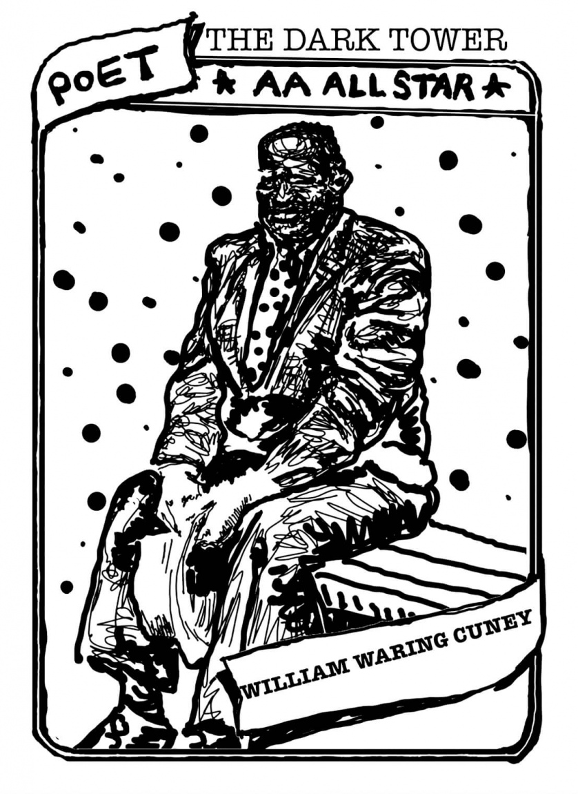 "A baseball card with portrait of William Waring Cuney. The text reads, ""The Dark Tower, Poet, AA All Star, William Waring Cuney."""