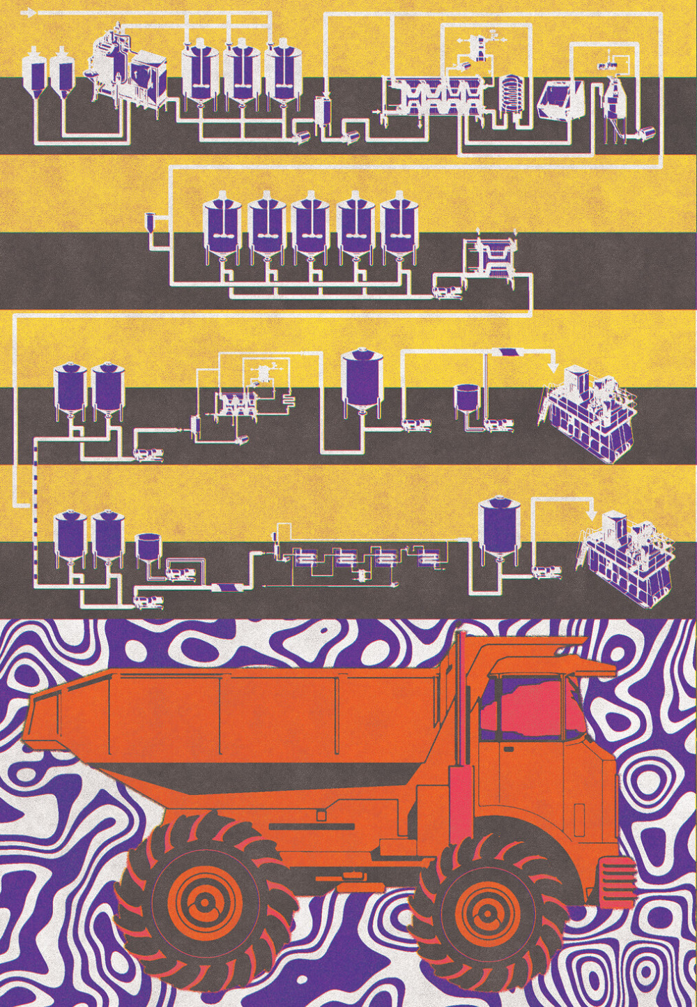 An orange dump truck is positioned below a black and yellow circuitry schematic.