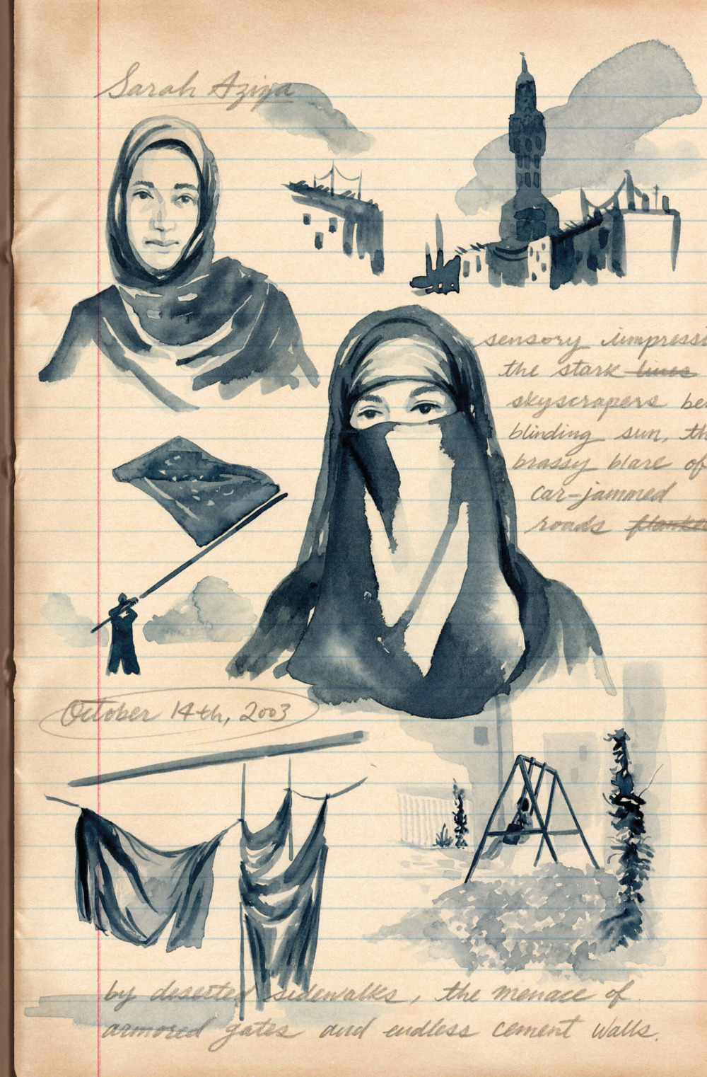 A notebook with various sketches of Saudi Arabic imagery next to handwritten notes.