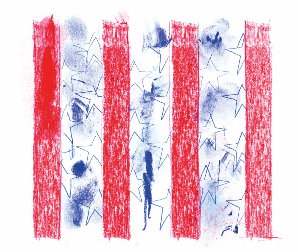 Stylized stars and stripes.