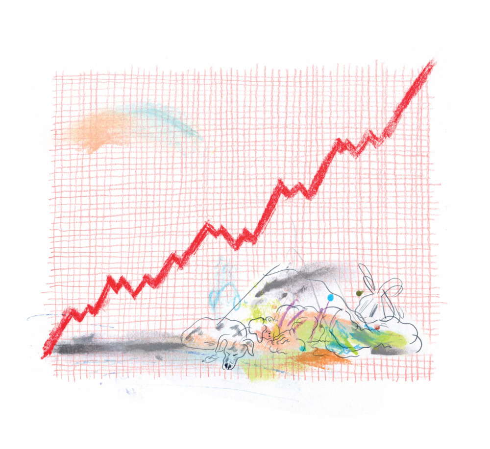A cartoonized stock market graph shoots upward.