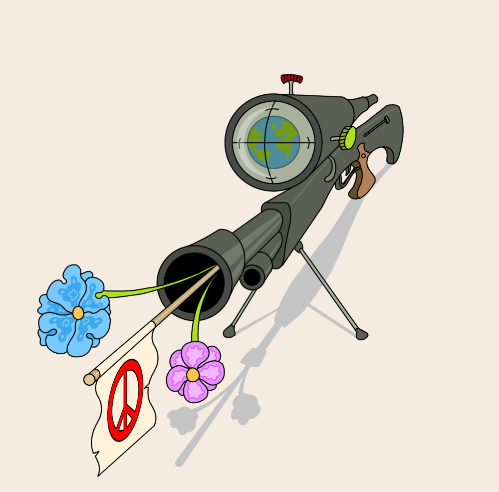A sniper rifle, with the earth in its sights, shoots flowers and a peace sign out of its barrel.
