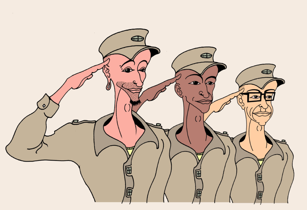 Three men in cadet uniforms perform a military salute.