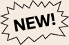 "A speech bubble with the word ""New!"" in it."