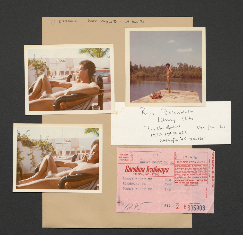 Photographs of Robert Lynch near a pool alongside a bus ticket and a small piece of paper with the address of an editor.