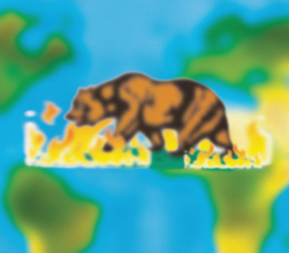 A blurry filter has been placed over the bear from the California flag. The bear is walking through flames. Behind it is a world map, so blurry that the continents seem more like blobs.