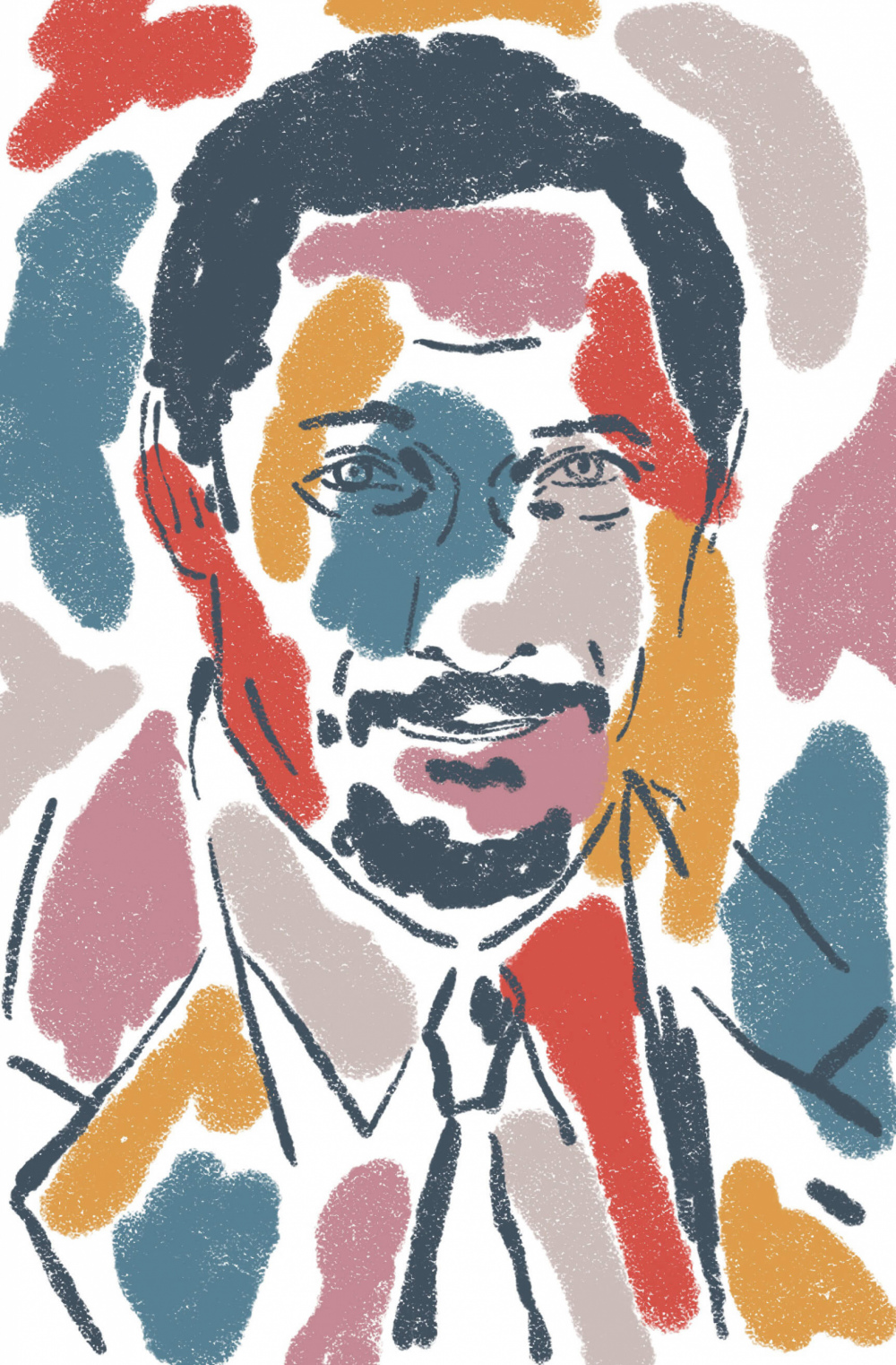 A colorful mosaic portrait of Percival Everett.