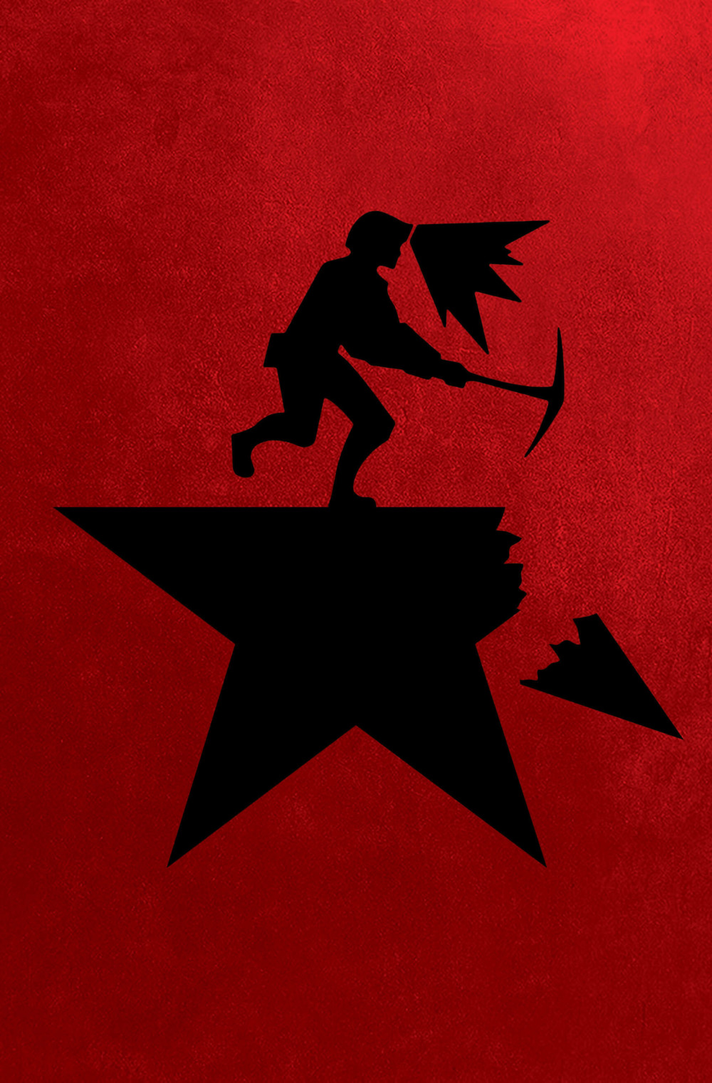 A play on the Hamilton poster, a coal miner with a pickaxe breaks off one of the star's arms. The background is a deep communist red.
