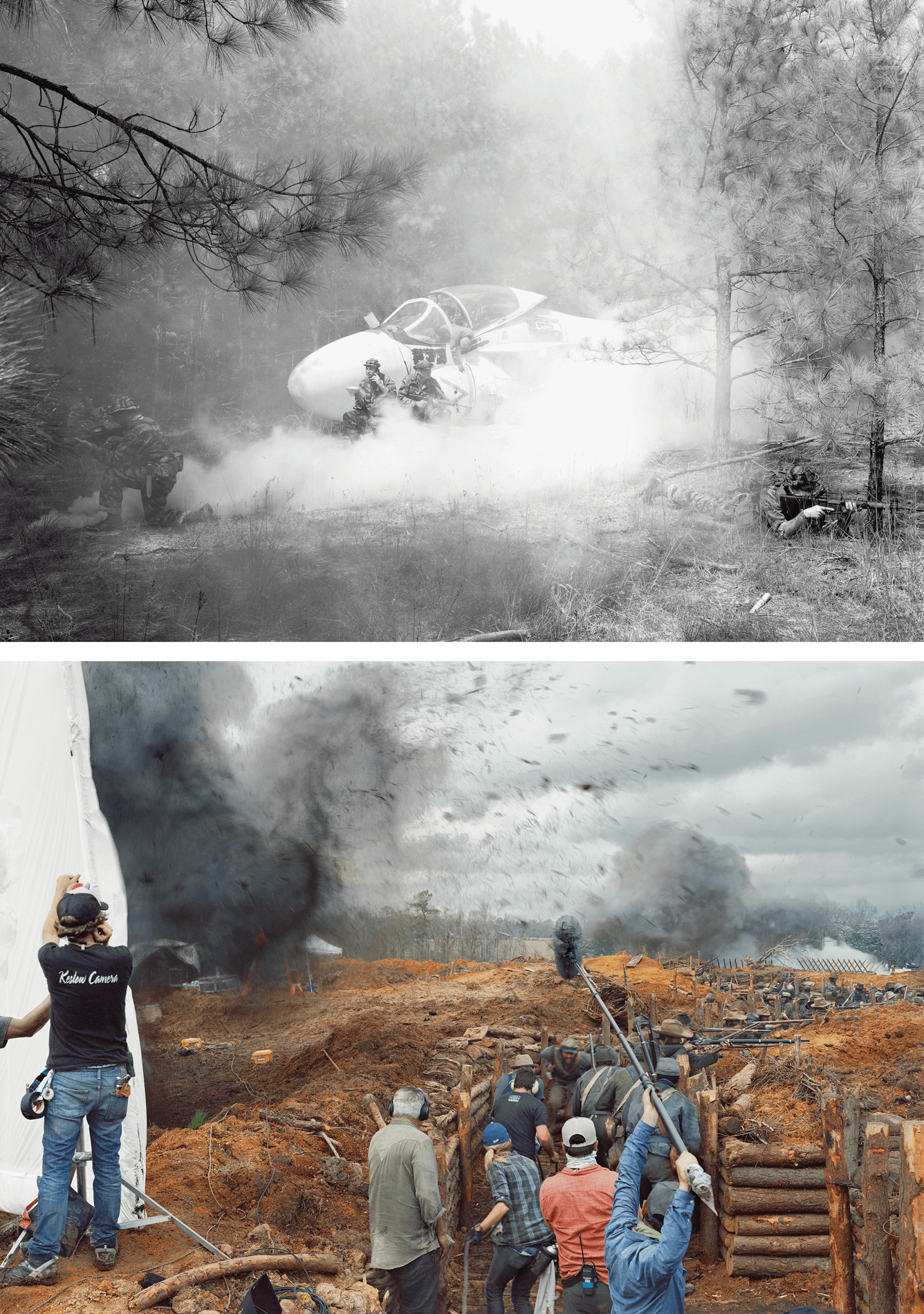 On the top is a black and white photograph of a Vietnam War era aircraft on fire. Below it is a photograph of a film set of a Civil War-era movie.