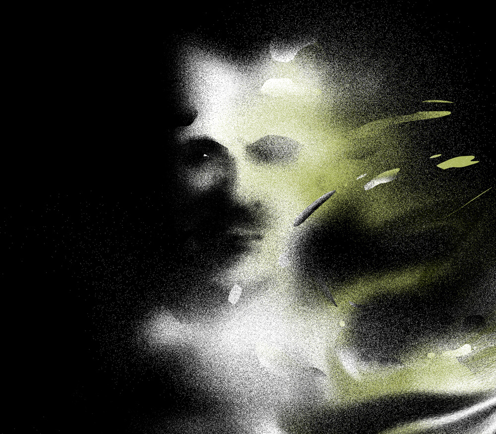 A shadow of a man's face is splashed with a light green tint.