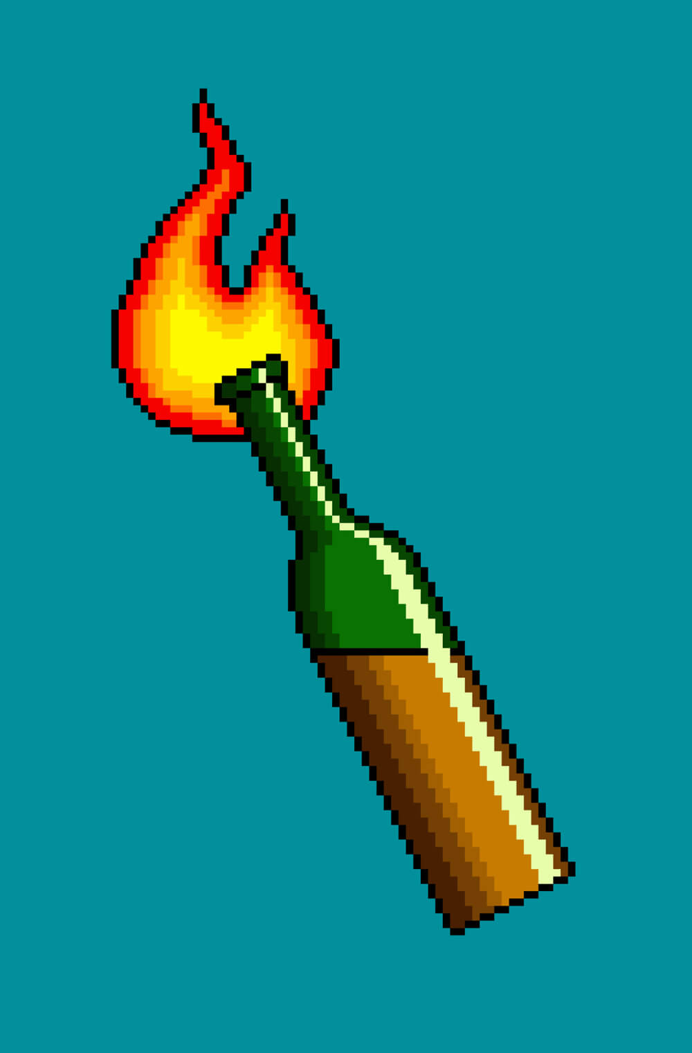 An 8-bit-style illustration of a molotov cocktail.