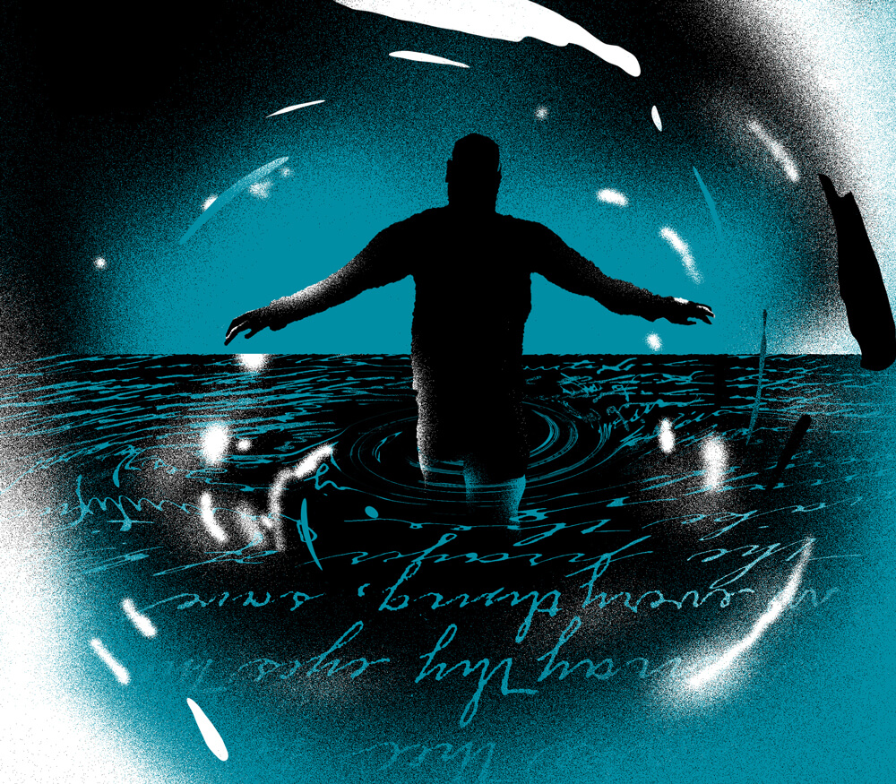 A man wading through dark waters with cursive writing for ripples.