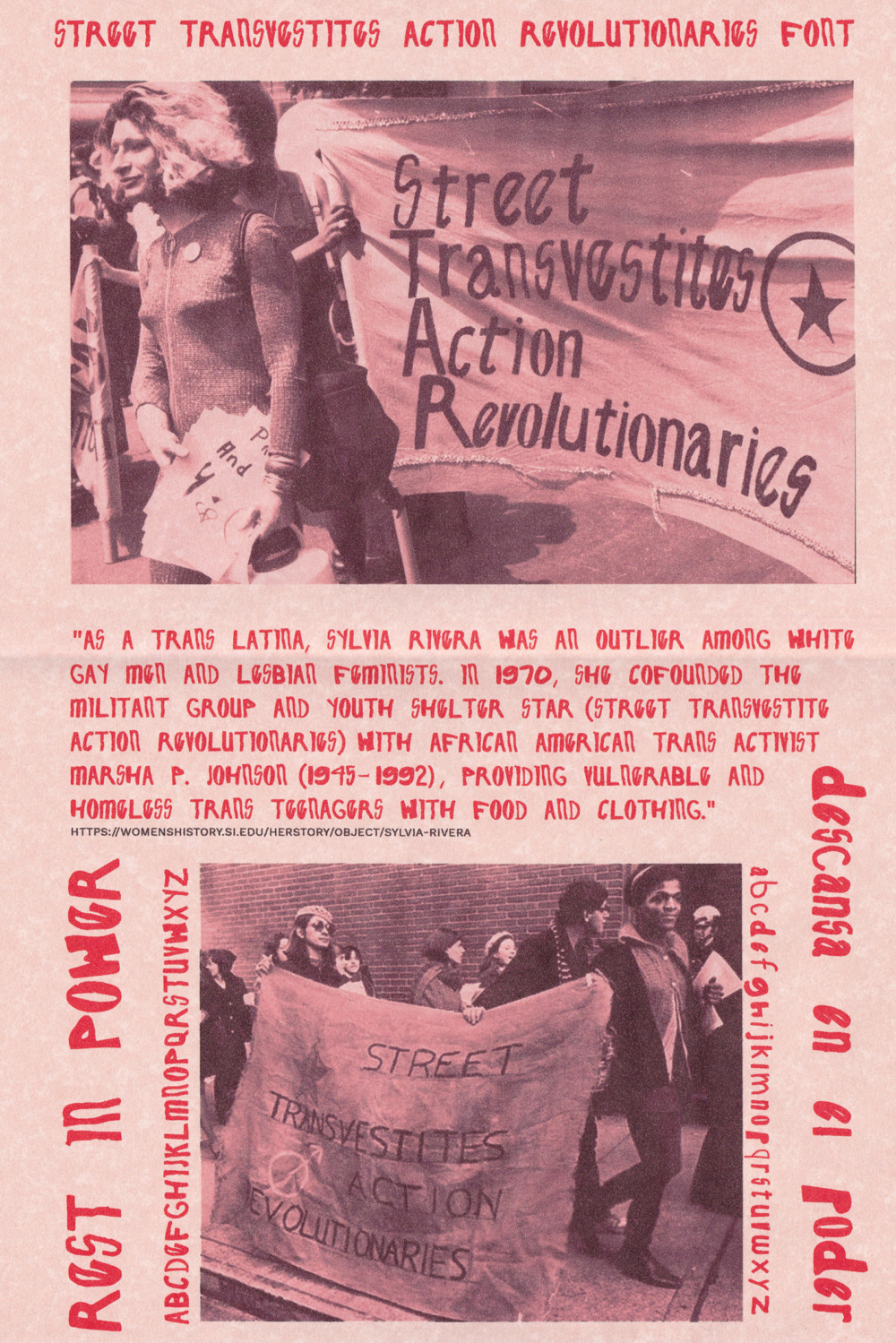 "Two photographs are on the page. The top photograph features a protestor standing in front of a sign that reads ""STREET TRANSVESTITES ACTION REVOLUTIONARIES"". The protester, Sylvia Rivera, is holding flyers. The second photograph is of marchers carrying a banner with the same text on a sidewalk. There's accompanying text between the two photographs. It is included below."