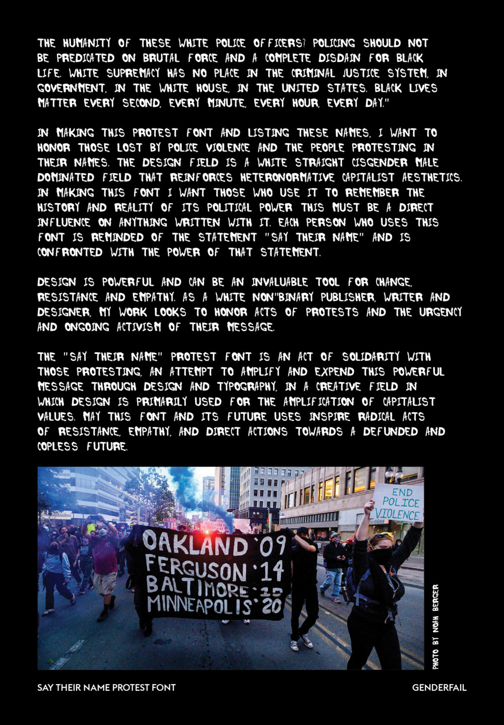 "The majority of the page is text continued from the previous page. It is included below. There is one photograph located at the bottom of the page. It appears to be of a Black Lives Matter protest. Protestors are walking down the middle of a street while holding signs and banners and waving blue smoke. The only two legible signs and banners read: ""OAKLAND '09, FERGUSON '14, BALTIMORE '15, 'MINNEAPOLIS '20"" and ""END POLICE VIOLENCE."""
