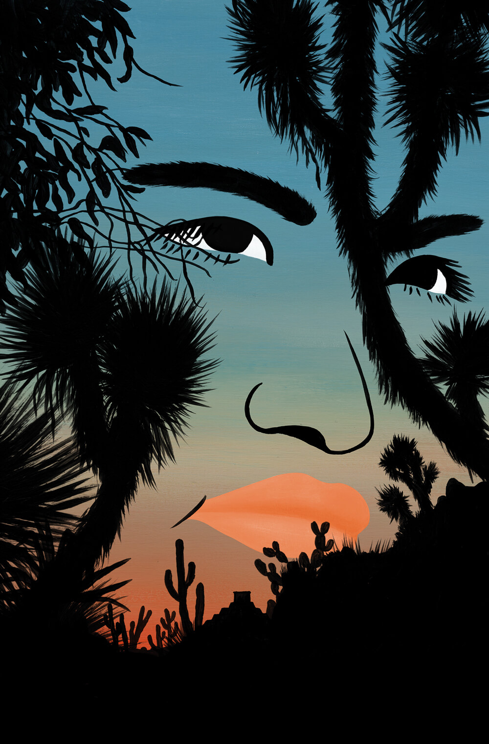 A determined face is formed with the silhouettes of desert plant life against the twilight of the sky.